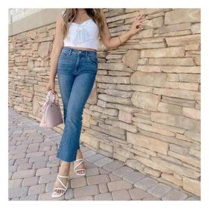 🆕Express Jeans - High Waisted Raw Hem Cropped Flare Jeans